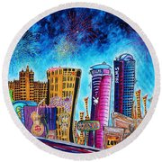 Viva Las Vegas A Fun And Funky Pop Art Painting Of The Vegas Skyline And Sign By Megan Duncanson Round Beach Towel by Megan Duncanson