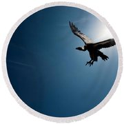 Vulture Flying In Front Of The Sun Round Beach Towel by Johan Swanepoel