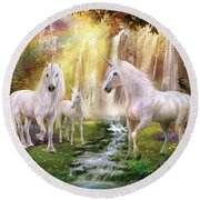 Waaterfall Glade Unicorns Round Beach Towel by Jan Patrik Krasny