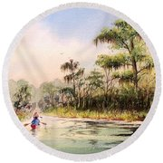 Wacissa River  Round Beach Towel by Bill Holkham