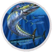 Wahoo Rip Off0047 Round Beach Towel by Carey Chen