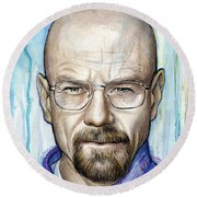 Walter White - Breaking Bad Round Beach Towel by Olga Shvartsur