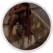 Round Beach Towel featuring the photograph Varanasi Hair Wash by Travel Pics