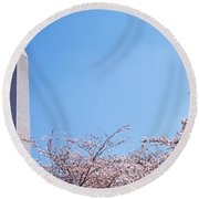 Washington Monument Behind Cherry Round Beach Towel by Panoramic Images