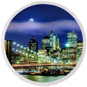 Watching Over New York Round Beach Towel by Az Jackson