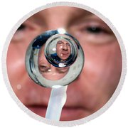 Round Beach Towel featuring the photograph Water Droplet On The Iss by Science Source