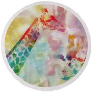 Watercolor Giraffes Round Beach Towel by Dan Sproul