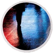 Times Square Watercolours Round Beach Towel by Dave Bowman