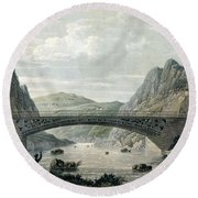 Waterloo Bridge Over The River Conwy Round Beach Towel by English School