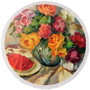 Watermelon And Roses Round Beach Towel by Diane McClary