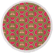 Watermelon Flamingo Print Round Beach Towel by Susan Claire