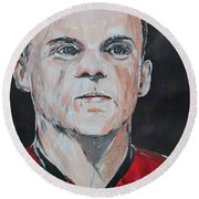 Wayne Rooney Round Beach Towel by John Halliday