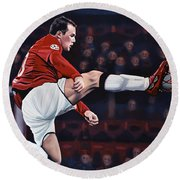 Wayne Rooney Round Beach Towel by Paul Meijering