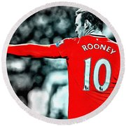 Wayne Rooney Poster Art Round Beach Towel by Florian Rodarte