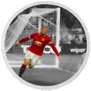 Wayne Rooney Scores Again Round Beach Towel by Brian Reaves