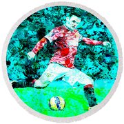 Wayne Rooney Splats Round Beach Towel by Brian Reaves