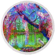 Weeping Beauty, Cherry Blossom Tree And Heron Round Beach Towel by Jane Small