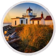 West Point Lighthouse Round Beach Towel by Inge Johnsson