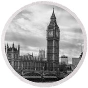 Westminster Panorama Round Beach Towel by Heather Applegate