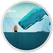 Whale Round Beach Towel by Mark Ashkenazi