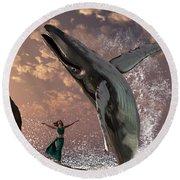 Whale Watcher Round Beach Towel by Daniel Eskridge