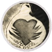 White Dove Art - Comfort - By Sharon Cummings Round Beach Towel by Sharon Cummings