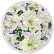 White Lilies Round Beach Towel by Christopher Ryland