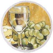 White Wine And Cheese Round Beach Towel by Debbie DeWitt
