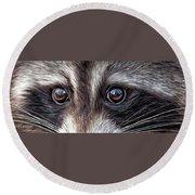 Wild Eyes - Raccoon Round Beach Towel by Carol Cavalaris