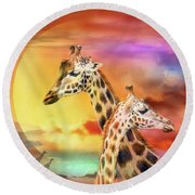 Wild Generations - Giraffes  Round Beach Towel by Carol Cavalaris