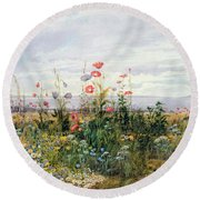 Wildflowers With A View Of Dublin Dunleary Round Beach Towel by A Nicholl