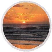 Wildwood Beach Here Comes The Sun Round Beach Towel by David Dehner