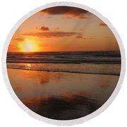 Wildwood Beach Sunrise Round Beach Towel by David Dehner