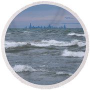 Windy City Skyline Round Beach Towel by Ann Horn