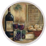 Wine For Two Round Beach Towel by Marilyn Dunlap