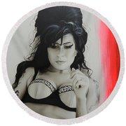 Amy Winehouse - ' Winehouse ' Round Beach Towel by Christian Chapman Art