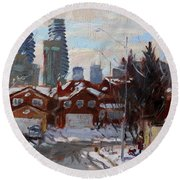 Winter In Mississauga  Round Beach Towel by Ylli Haruni