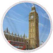 Winter Morning Big Ben Elizabeth Tower London Round Beach Towel by Richard Harpum