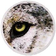 Wolf Eyes By Sharon Cummings Round Beach Towel by Sharon Cummings