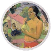 Woman With Mango Round Beach Towel by Paul Gauguin