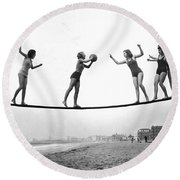 Women Play Beach Basketball Round Beach Towel by Underwood Archives