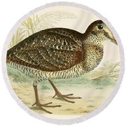 Woodcock Round Beach Towel by Beverley R Morris