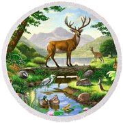 Woodland Harmony Round Beach Towel by Chris Heitt