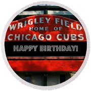 Wrigley Field -- Happy Birthday Round Beach Towel by Stephen Stookey