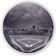 Wrigley Field Night Game Chicago Bw Round Beach Towel by Steve Gadomski