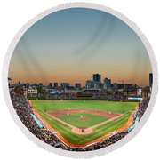 Wrigley Field Night Game Chicago Round Beach Towel by Steve Gadomski