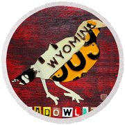 Wyoming Meadowlark Wild Bird Vintage Recycled License Plate Art Round Beach Towel by Design Turnpike