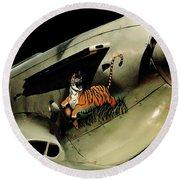 Yak 9 Tiger Round Beach Towel by Benjamin Yeager