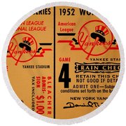 Yankees 4th Straight - Vintage Round Beach Towel by Benjamin Yeager