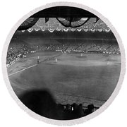 Yankees Defeat Giants Round Beach Towel by Underwood Archives